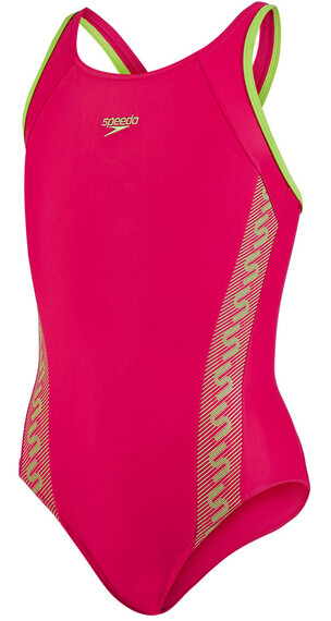 speedo Endurance10 Monogram Muscleback Swimsuit Girls rose red/citrus green